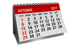3d october 2017 calendar. 3d illustration of october 2017 calendar isolated over white background Stock Images