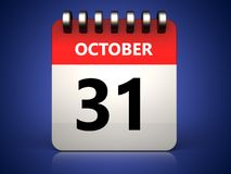 3d 31 october calendar Royalty Free Stock Images