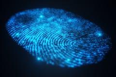3D odcisku palca ilustracyjny obraz cyfrowy zapewnia ochrona dostęp z biometrics identyfikacją Pojęcie odcisku palca ochrona royalty ilustracja