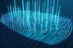3D odcisku palca ilustracyjny obraz cyfrowy zapewnia ochrona dostęp z biometrics identyfikacją Pojęcie odcisku palca ochrona zdjęcie royalty free