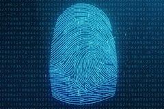 3D odcisku palca ilustracyjny obraz cyfrowy zapewnia ochrona dostęp z biometrics identyfikacją Pojęcie odcisku palca ochrona fotografia royalty free