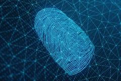 3D odcisku palca ilustracyjny obraz cyfrowy zapewnia ochrona dostęp z biometrics identyfikacją Pojęcie odcisku palca ochrona ilustracja wektor
