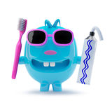 3d Odd blue character in sunglasses wants to brush his teeth Stock Image