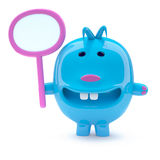 3d Odd blue creature with a blank placard Royalty Free Stock Photography