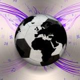 3D odizolowywał Czarny i biały piłki nożnej piłkę z światową mapą, świat Obrazy Stock