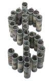 3d odizolowywająca dolarowa wysokość odpłaca się postanowienia symbolu biel Obrazy Stock