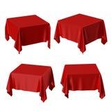 3d odpłacają się, obciosują, stołowego zakrywającego z czerwonym tablecloth, perspektyw pozycji, tkanina fałdów, tkanina kształta ilustracji