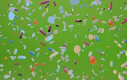 3d odpłacać się latające pigułki na cytryny zieleni ilustracji
