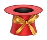 3D odpłacał się czerwoną dekorację odgórny kapelusz z złotym faborkiem Fotografia Royalty Free