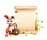 Brown Wielkanocny królik z dużym znakiem i jajka koszykowi Obrazy Royalty Free