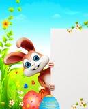 Wielkanocny królik chuje za znakiem na trawie Obraz Royalty Free