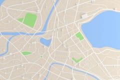 3D odpłacał się odgórnego widok miasto mapa z drogowego budynku rzeczną 3D bolączką Zdjęcia Royalty Free