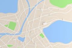 3D odpłacał się odgórnego widok miasto mapa z drogowego budynku rzeczną 3D bolączką Obrazy Royalty Free