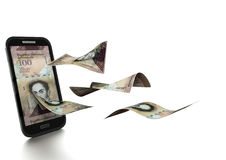 3D Odpłacał się Venzuelan bolivara pieniądze przechyla i odizolowywa na białym tle Obraz Stock