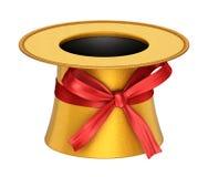 3D odpłacał się złotą dekorację odgórny kapelusz z czerwonym faborkiem Fotografia Royalty Free
