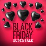 3D Odpłaca się Black Friday sprzedaży balonu serca Obraz Royalty Free