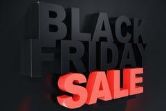 3D Odpłaca się Black Friday, sprzedaży wiadomość dla sklepu Biznesowy chmielenie sklepu sztandar dla Black Friday piątek czarny s Obraz Stock