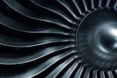 3D Odpłaca się dżetowego silnika, zakończenie widoku dżetowego silnika ostrza Błękitny odcień Obrazy Stock