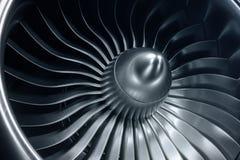 3D Odpłaca się dżetowego silnika, zakończenie widoku dżetowego silnika ostrza Błękitny odcień Zdjęcia Stock