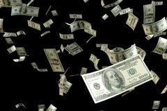 3D odpłaca się duże ilości pieniądze 100 USD banknotu latania pławik w lotniczym ogniskowaniu na pobliski jeden Zdjęcia Royalty Free