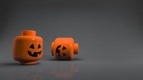 3d odpłaca się Halloween bani bawi się w ciemnym tle Fotografia Royalty Free