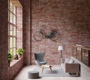3D Odpłaca się Industrail stylowy żywy pokój, duży okno, lampowa szara leżanka i krzesło, drewniana podłoga, bicykl na czerwonej  ilustracja wektor