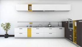 3d odpłaca się minimalną i nowożytną żółtą kuchnię z piekarnikiem w białym pokoju ilustracji