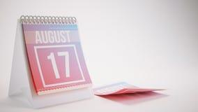 3D Odpłaca się Modnego koloru kalendarz na Białym tle - august Fotografia Stock