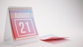 3D Odpłaca się Modnego koloru kalendarz na Białym tle - august Obraz Stock