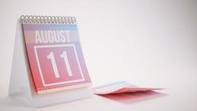 3D Odpłaca się Modnego koloru kalendarz na Białym tle - august Obrazy Stock