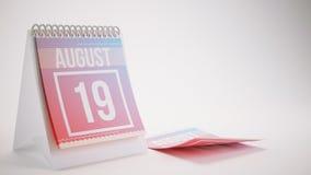 3D Odpłaca się Modnego koloru kalendarz na Białym tle - august Fotografia Royalty Free
