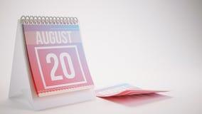 3D Odpłaca się Modnego koloru kalendarz na Białym tle - august Zdjęcie Royalty Free