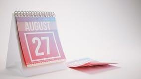 3D Odpłaca się Modnego koloru kalendarz na Białym tle - august Obrazy Royalty Free