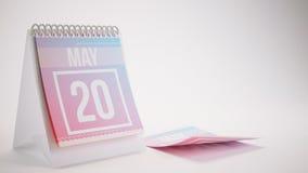 3D Odpłaca się Modnego koloru kalendarz na bielu - mogą 20 Obrazy Stock