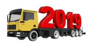 3D odpłaca się 2019 na ciężarówce, 2019 nowy rok Ciężarowy transport ilustracja wektor