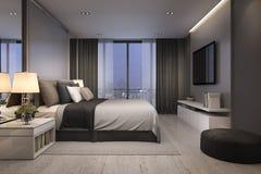 3d odpłaca się nowożytnego luksusowego sypialnia apartament przy nocą z wygodnym projektem Obrazy Royalty Free