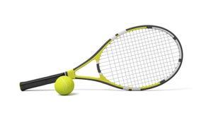 3d odpłaca się pojedynczego tenisowego racquet lying on the beach z żółtą piłką na białym tle royalty ilustracja