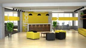 3d odpłaca się wnętrze biuro. Hall z przyjęciem Ilustracja Wektor