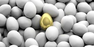 3d odpłaca się złotego jajko na białych jajek tle ilustracji
