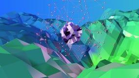 3d odpłacają się abstrakcjonistyczny geometryczny tło z nowożytnymi gradientowymi kolorami w niskim poli- stylu 3d powierzchnia z Obrazy Stock