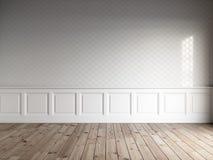 3d odpłacają się biały wnętrze z klasycznymi panel, płytki na ściennej i naturalnej podłoga Obrazy Stock