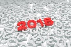 3d odpłacają się czerwień - nowy rok 2018 i past rok - Fotografia Royalty Free