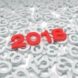 3d odpłacają się czerwień - nowy rok 2018 i past rok - Zdjęcie Royalty Free