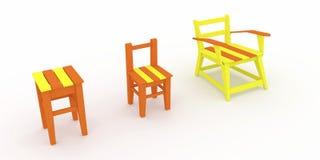 3d odpłacają się, 3d ilustracja ewolucja drewniana stolec Fotografia Royalty Free