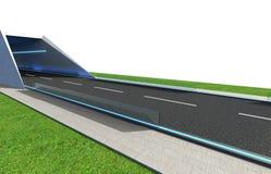 3d Odpłacają się drogę z tunelem i greenfield ilustracji