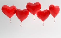 3d odpłacają się ilustrację realistyczni czerwoni glansowani kierowi balony na białym tle Walentynka dzień romantyczny elegancki  ilustracji
