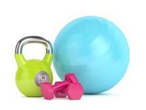 3d odpłacają się kettlebell, sprawności fizycznej piłka i dumbbells, Zdjęcia Royalty Free