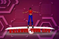 3d odpłacają się kobiety na skala z tekst równowagą twój życie Zdjęcie Royalty Free