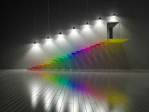 3d odpłacają się kolorowy schodek budujący szkłem Obrazy Stock