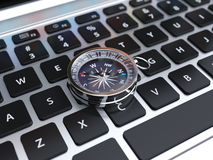3d odpłacają się kompasu znak na komputerowej klawiaturze Obrazy Stock